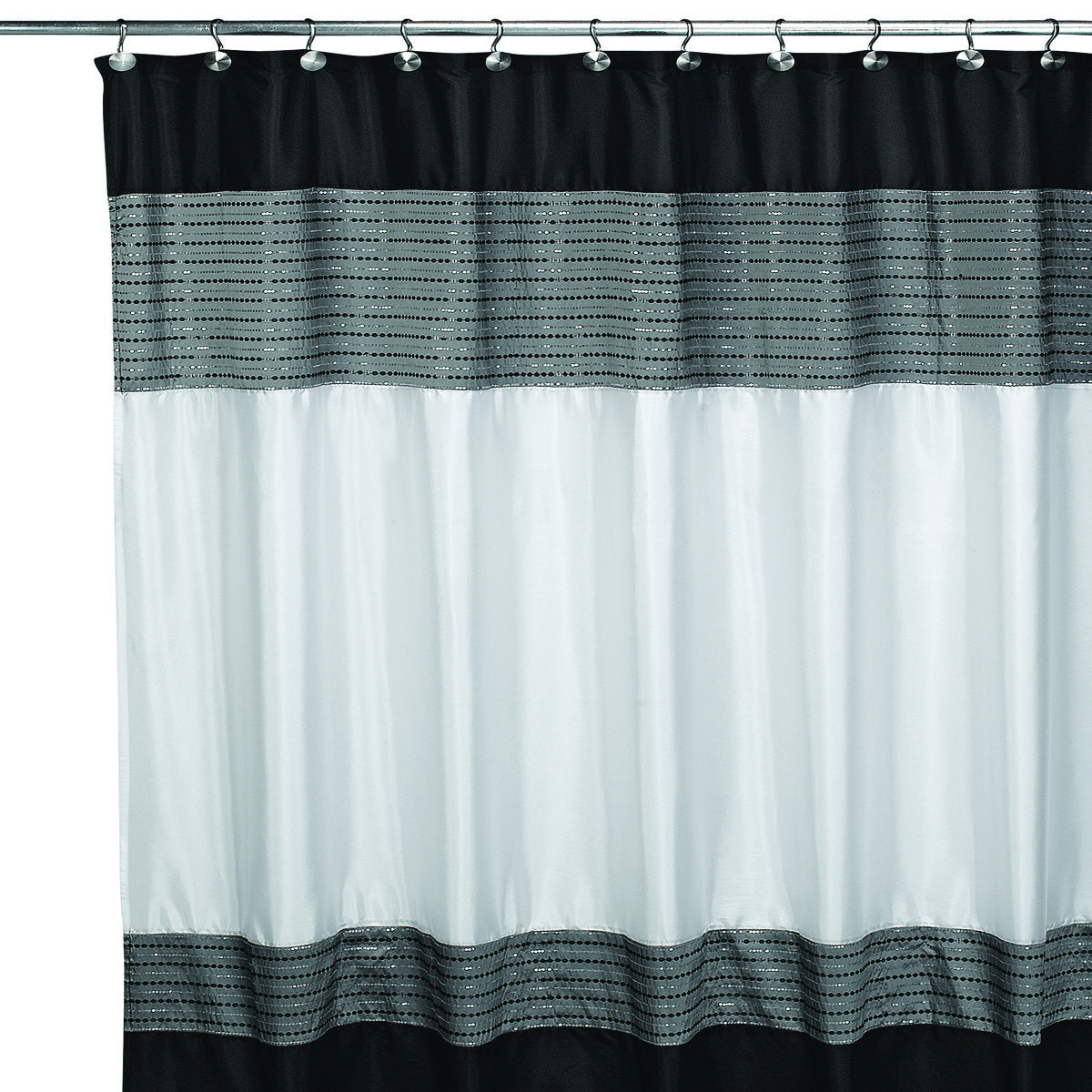 modern and sleek, this sequined shower curtain will dress up your