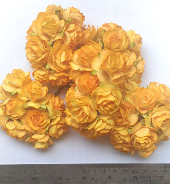 50 big yellow gold mulberry roses paper flowers size 3 cm 12inch 50 big yellow gold mulberry roses paper flowers size 3 cm 12inch wholesale bulk mightylinksfo