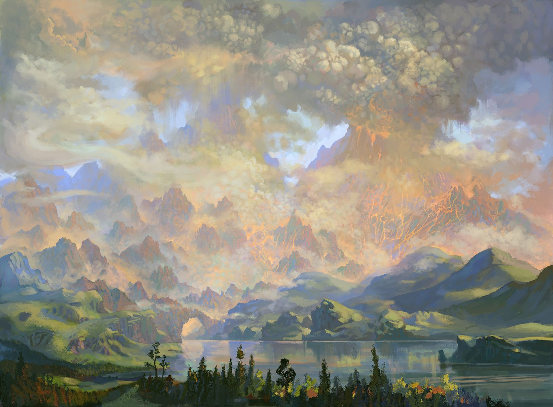 Original painting seed of life landscape