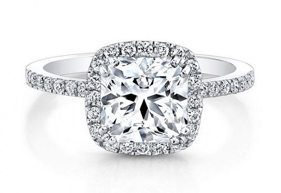 2.03ct Square Halo Radiant Diamond Engagement Ring Radiant Cut Engagement  Ring 18kt White Gold BLUERIVER47