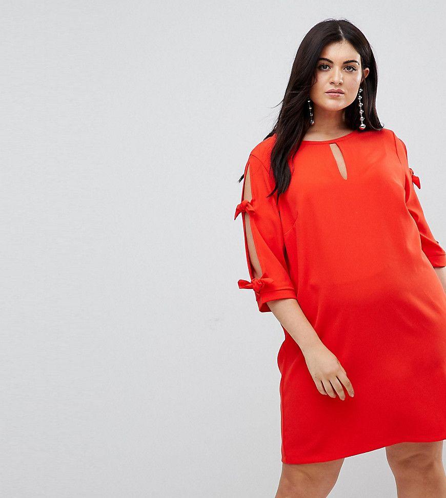 River Island Plus - Hemdkleid mit Schleifen verzierten Ärmeln - Rot ...
