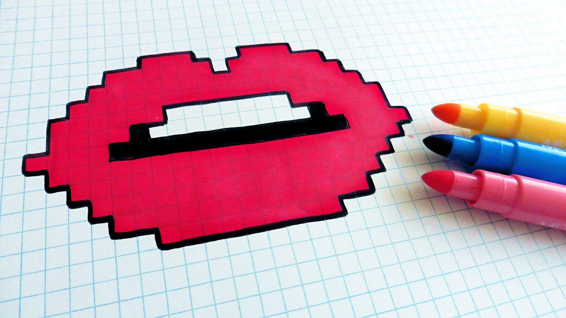 Handmade Pixel Art How To Draw Lips Pixelart Pixel Art Pixel