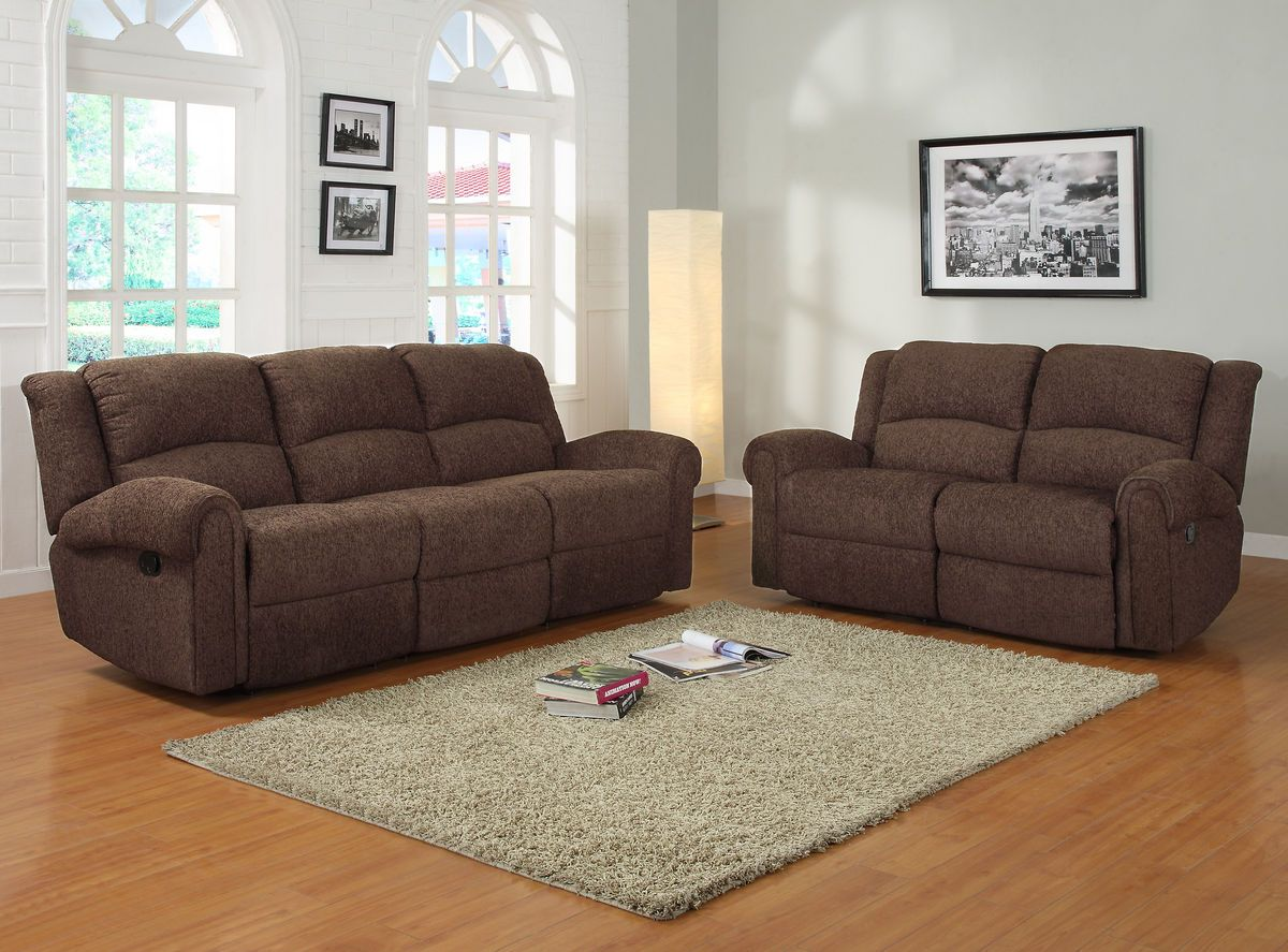 2 Pc Esther Collection Dark Brown Chenille Fabric