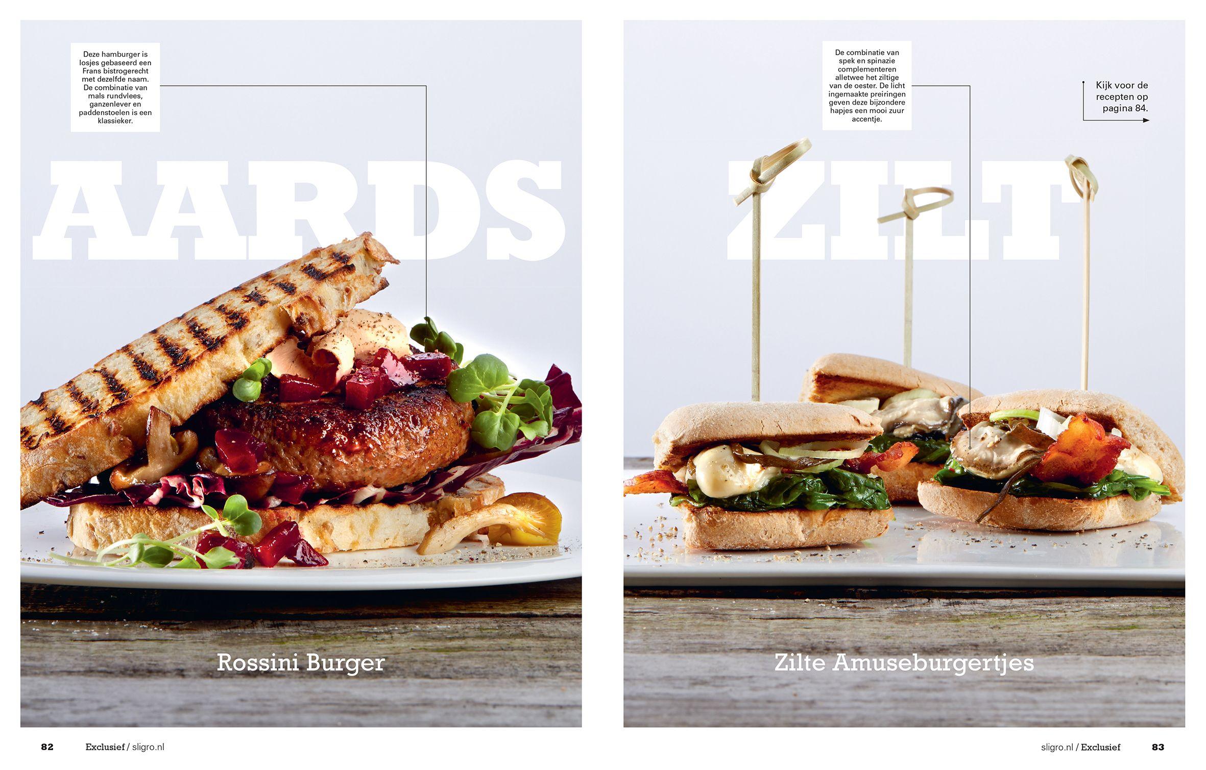 Hamburgers. The next level. Links: Rossini Burger. Rechts: Zilte Amuseburgertjes. Receptuur en foodstyling INGMAR NIEZEN Fotografie JASPER BOSMAN