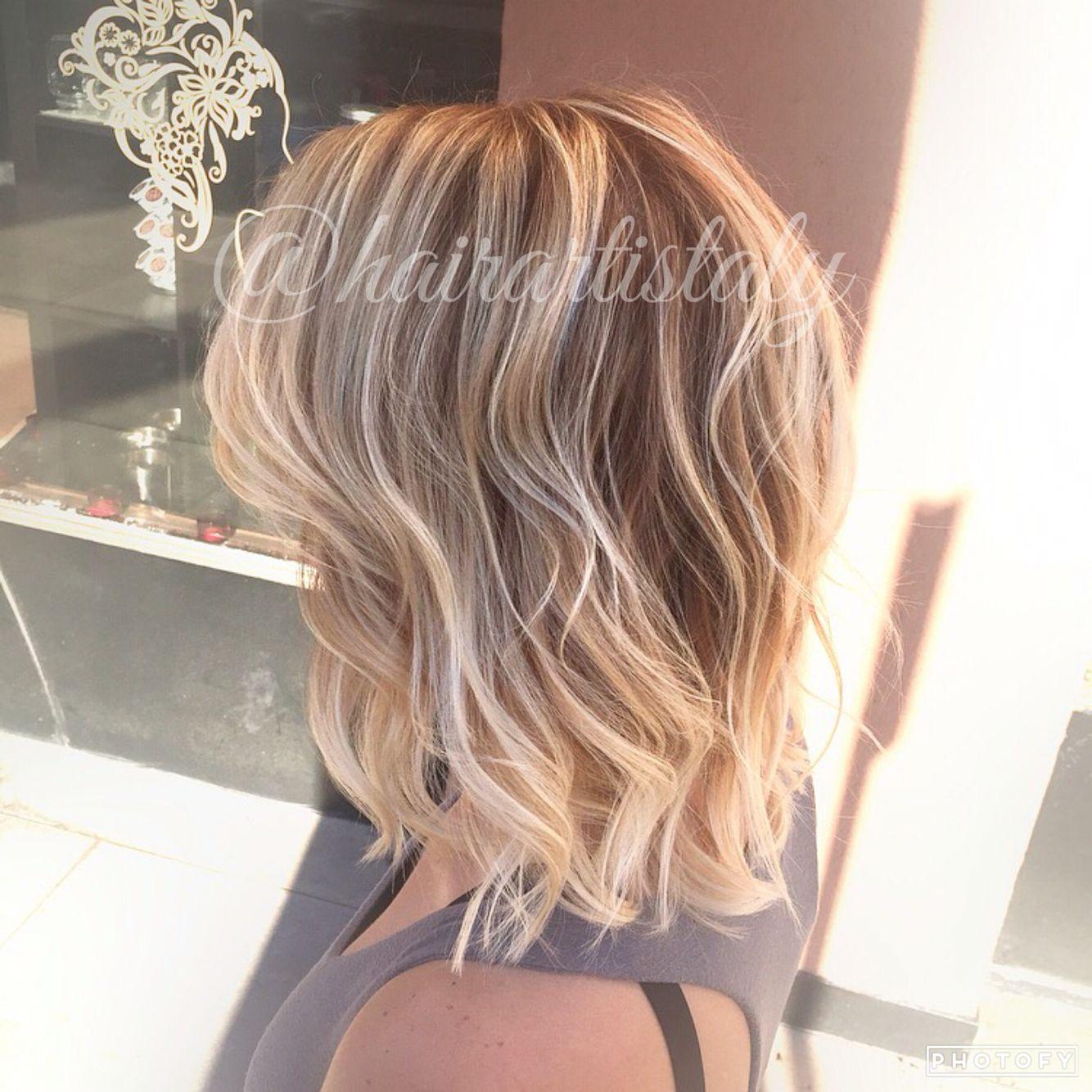Bright Blonde Balayage Lob Haircut Hair By Aly Tompkins Mon Amie