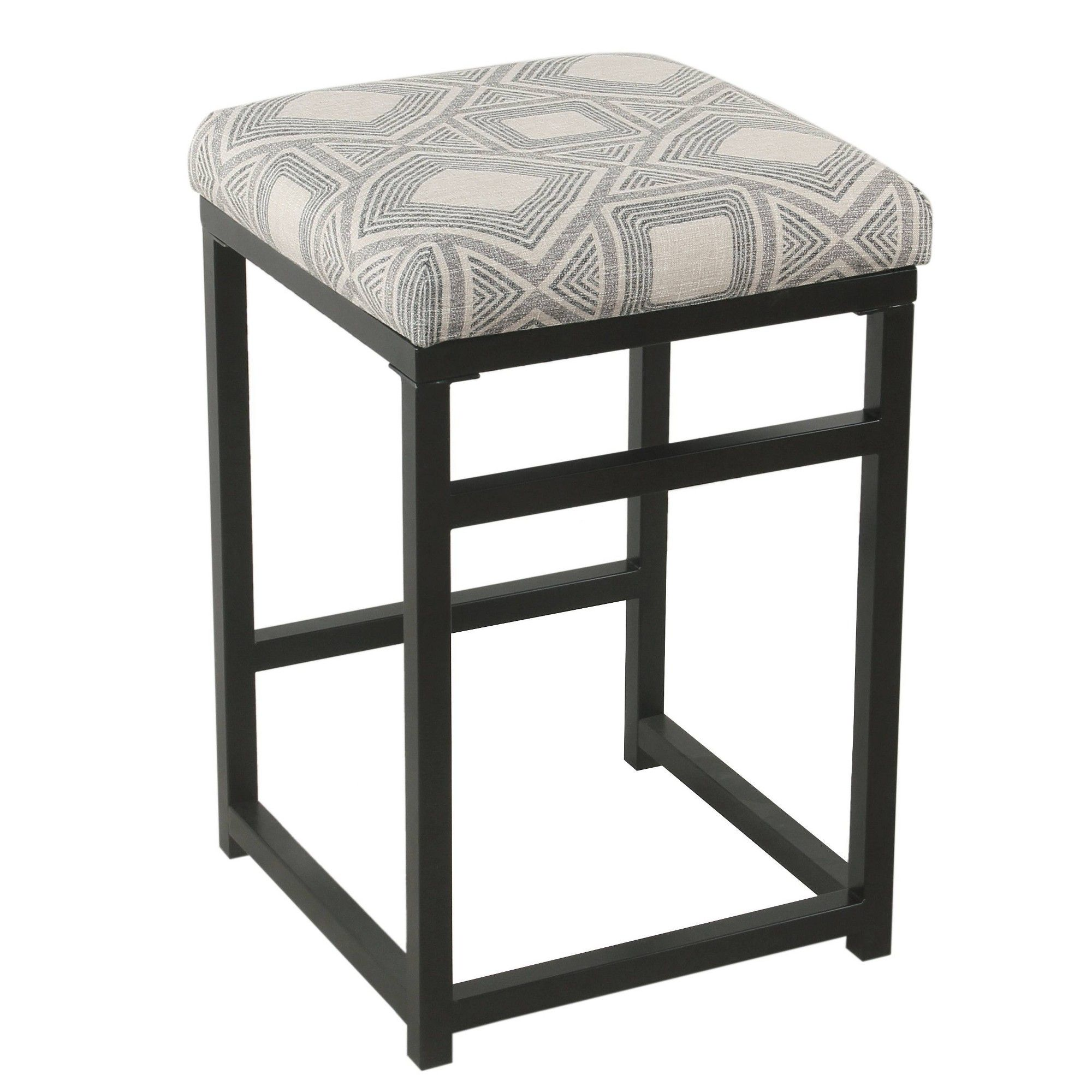 Enjoyable 24 Open Back Counter Stool Square Geometric Charcoal Grey Gmtry Best Dining Table And Chair Ideas Images Gmtryco