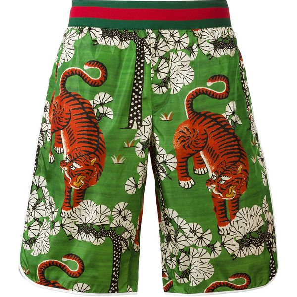 37c37addb7602 Gucci Bengal Print Swim Shorts ($605) ❤ liked on Polyvore featuring men's  fashion, men's clothing, men's swimwear, gucci mens swimwear, gucci mens  clothing ...