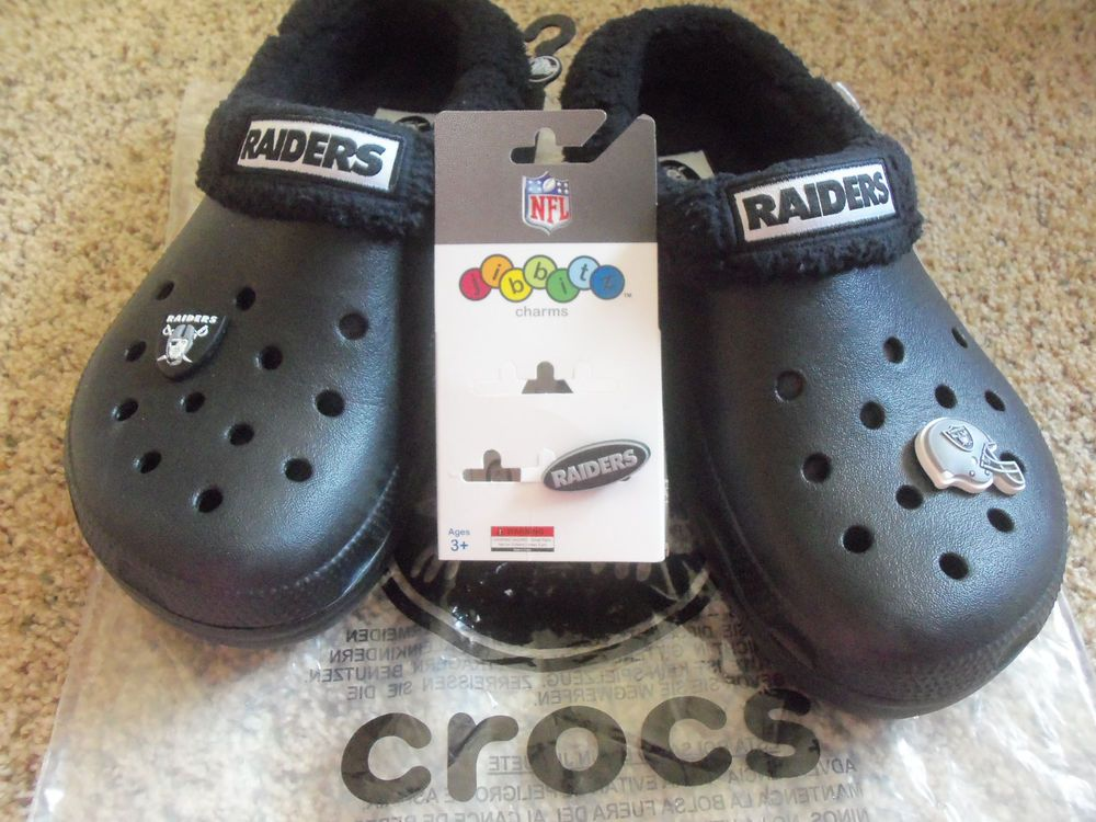 ae0c81fb6d NFL Oakland Raiders Crocs Mammoth Clogs W/ 3 Raiders Jibbitz Charms Unisex  NEW #fashion #clothing #shoes #accessories #womensshoes #flats #ad (ebay  link)