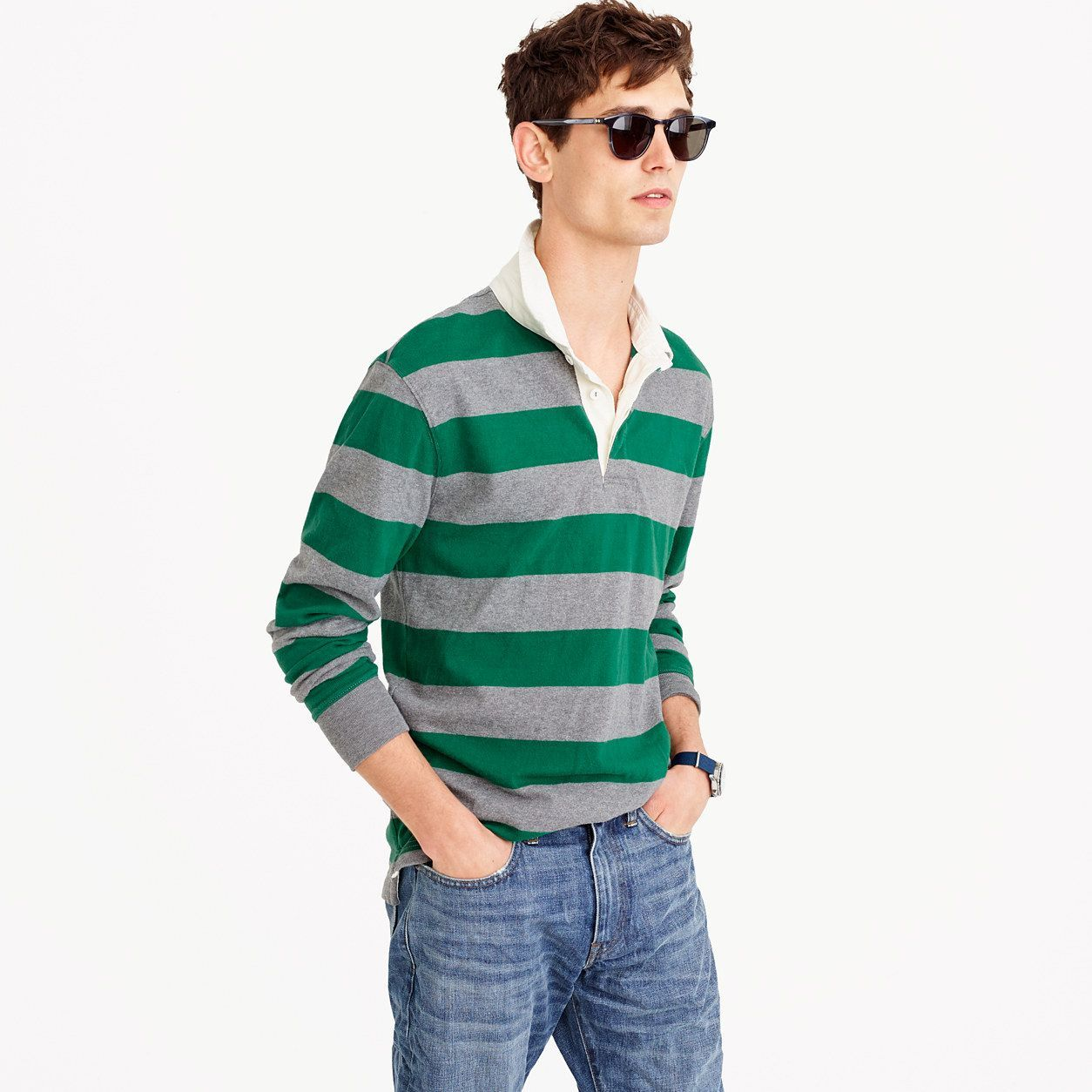 J Crew Mens Tall Rugby Shirt In Grey-And-Green Stripe (Size
