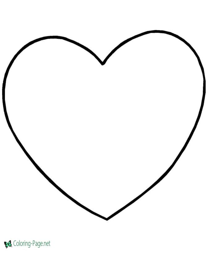 Valentine Coloring Page - Simple Heart | Heart coloring ...