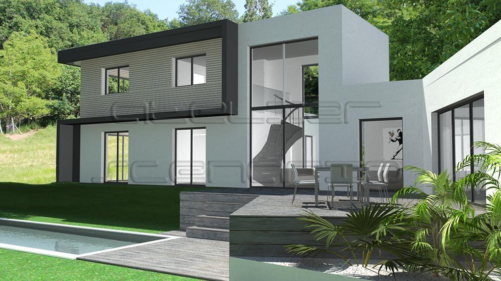 Maison Contemporaine En L A Etage Partiel Avec Bardage Bois Et Casquettes Maison Zac Artofit