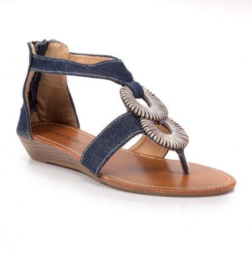 Loving these Denim Sandals will look great with all my jeans. The classy Silver accent makes it look dressy yet still casual. #Shoes #Wedge #Flats Shoes #Sandals #fashion #beauty #ladies #womens #girls #bling #summer #springtime #outdoors