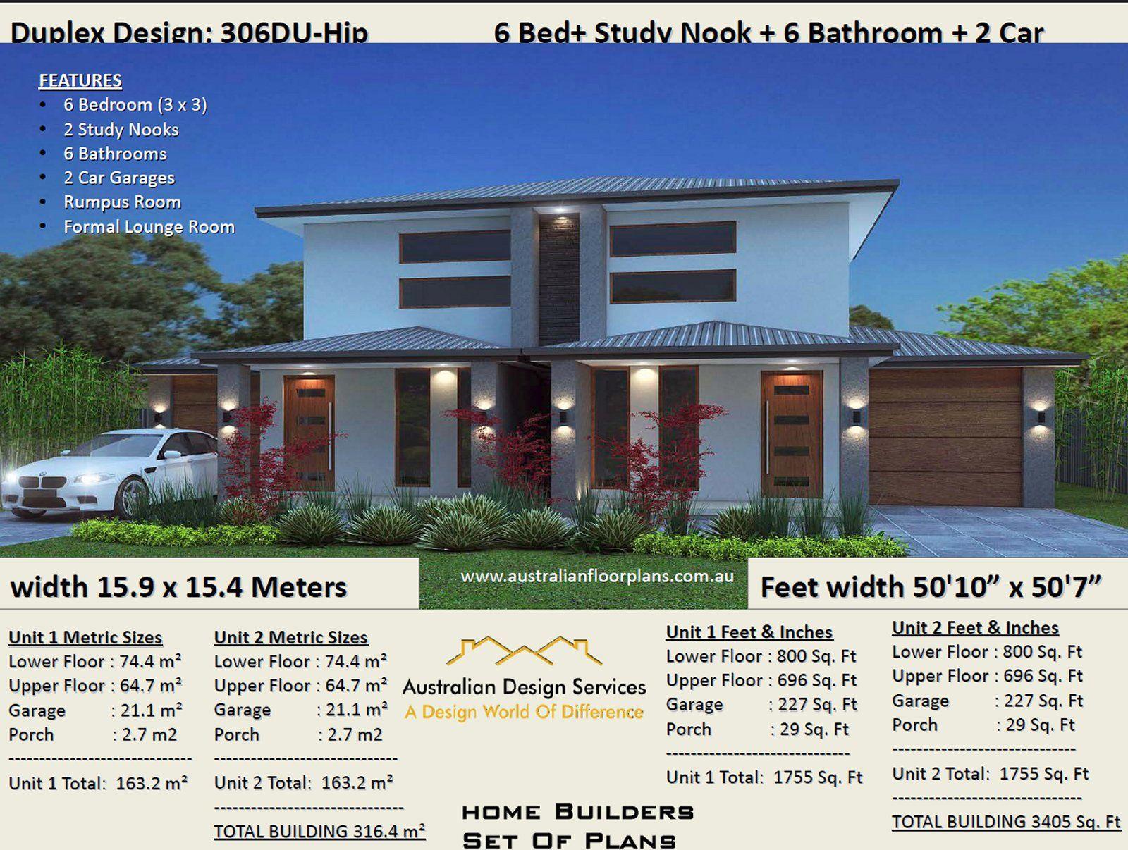 306DU Modern 2 storey Duplex / Townhouse design | Concept ...