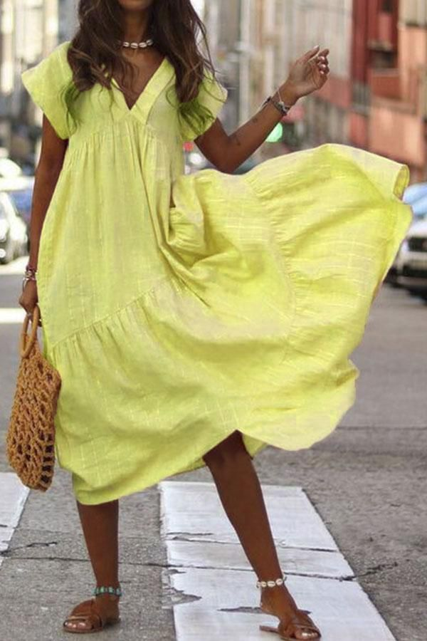Photo of Solid Short Sleeves Loose Maxi Dress