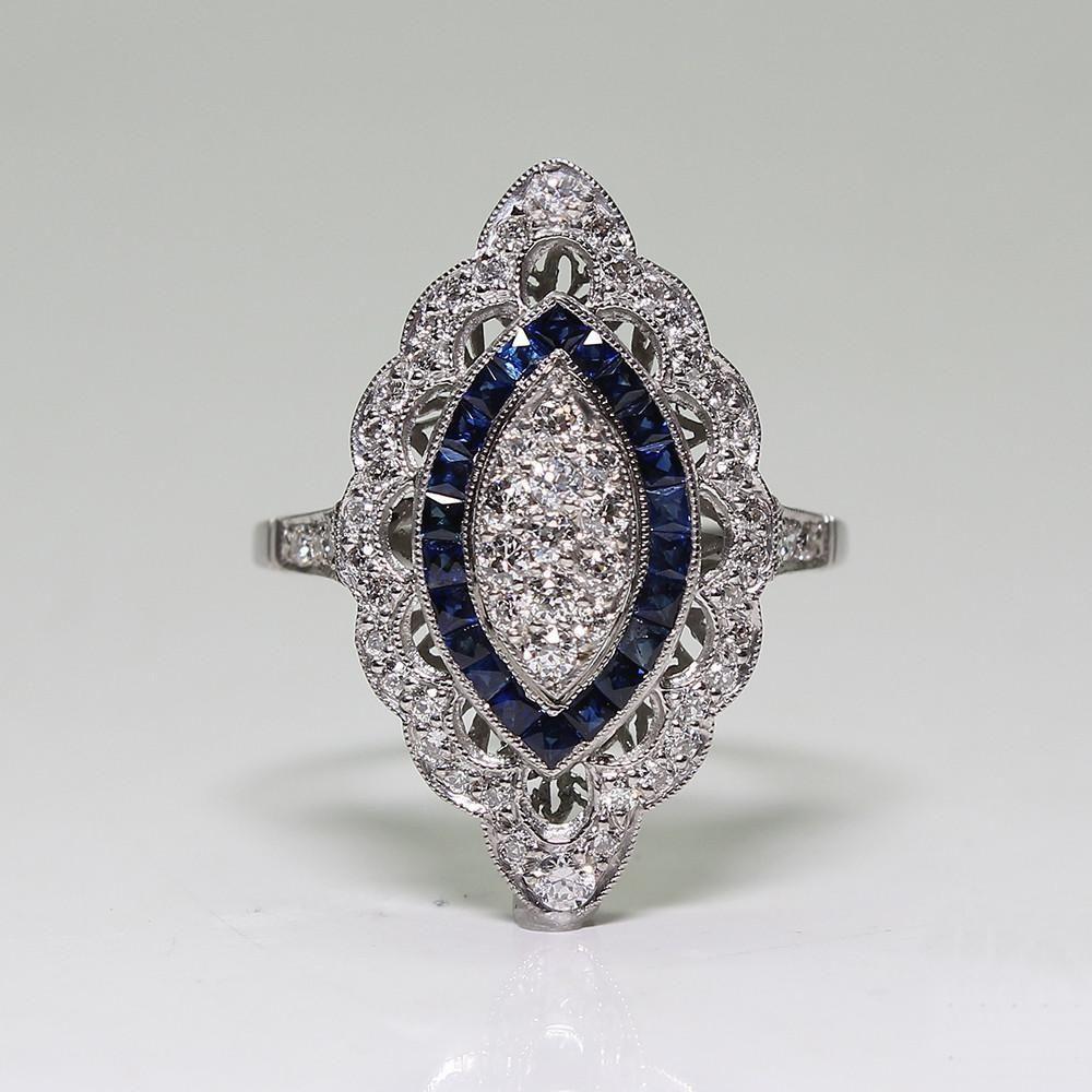 Antique Art Deco Large 925 Sterling Silver Blue Sapphire   Diamond Marquis  Cut Ring Engagement Wedding 1410eb4ceb5b