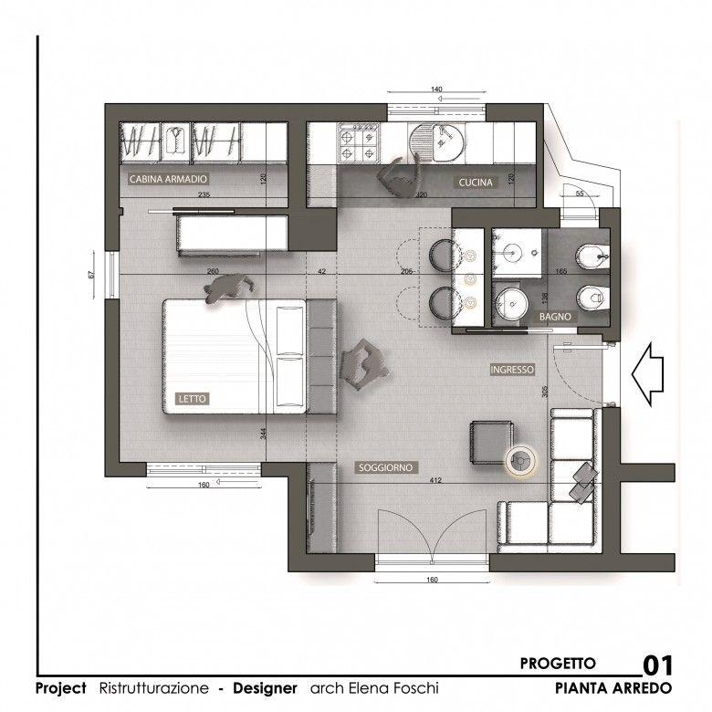 Monolocale Open Space Planimetrie Dell Appartamento Monolocale Piccoli Monolocali