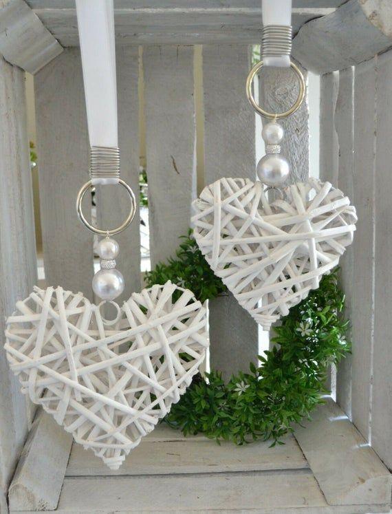 Window Deco Heart 2-Set willow heart beads, rhinestbeat, white 15-20 cm