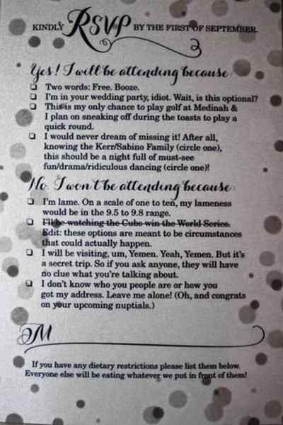 Reddit Best Wedding Invitation RSVP Ever Goes Viral