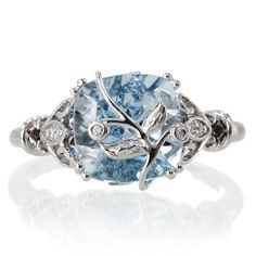 White Gold 9mm Cushion Cut Aquamarine and Diamond Vintage Leaf and Vine Design Something Blue Engagement Anniversary Wedding Ring