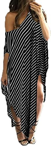 KIDSFORM Womens Maxi Dress Striped Loose Long Dress Casual Side Split Kaftan Sundress