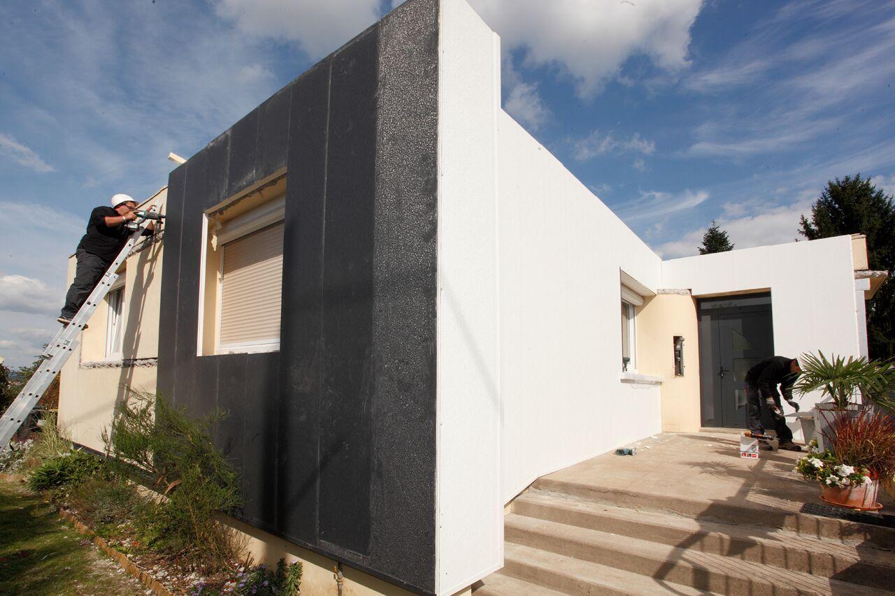 Isolation Mur Exterieur Renovation mise en oeuvre saint vallier - chantier face blanche #uniso