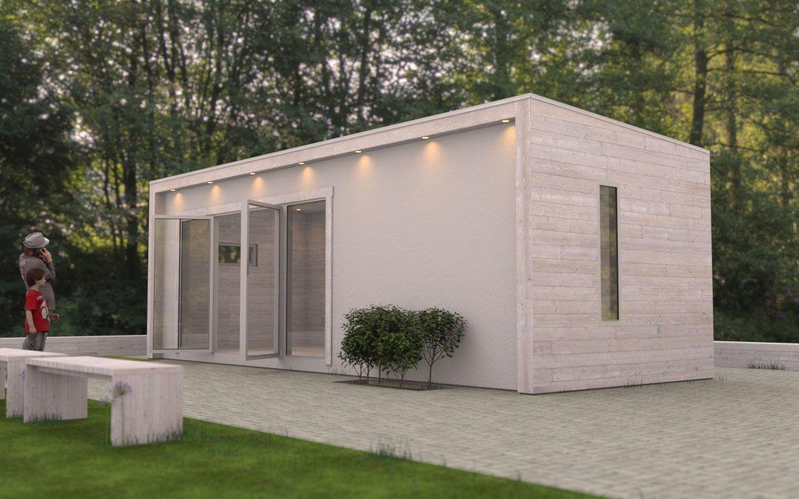 Attefallshus med putsad fasad och vitlaserad träpanel   skapad av ...