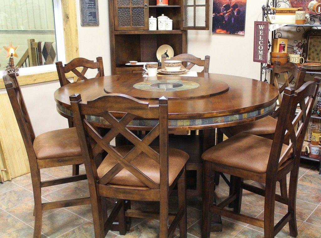 Round table with lazy susan rustic ranch furniture for Mobilia kitchen table