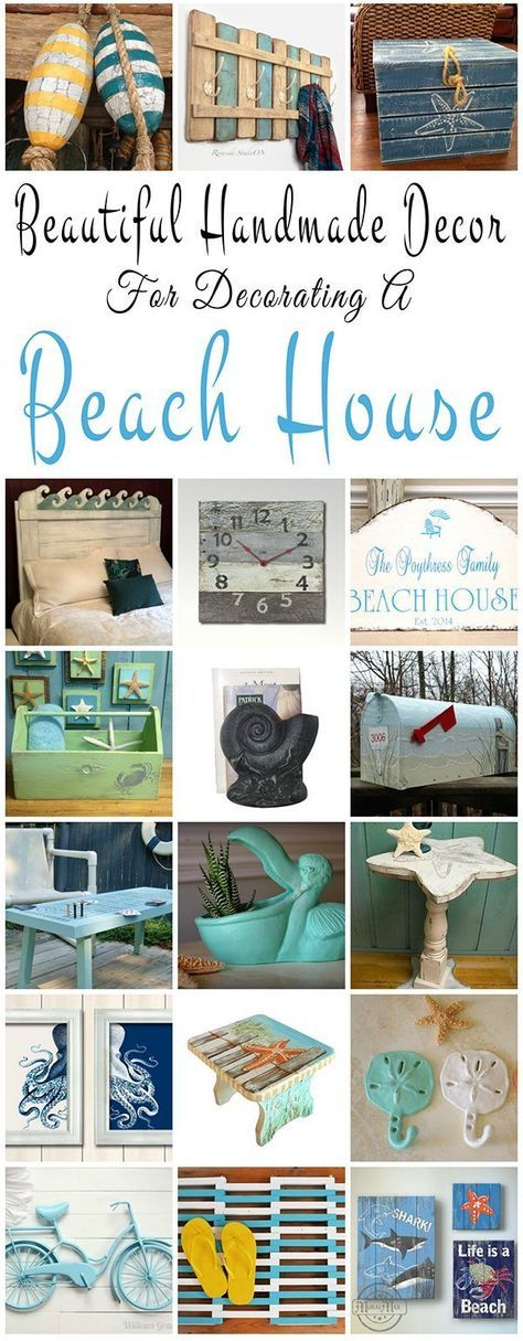 Beautiful handmade decor ideas for decorating a beach house or summer cottage. You will find decor accents that will fit into any