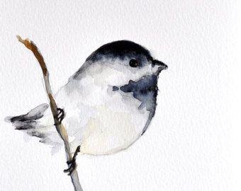 Chickadee Aquarelle Oiseau Peinture Noir Et Blanc 6 X 8 Pouces