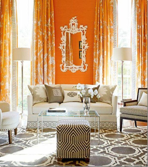 gardinen und vorhänge orange wohnzimmer Salon Pinterest - moderne wohnzimmer gardinen
