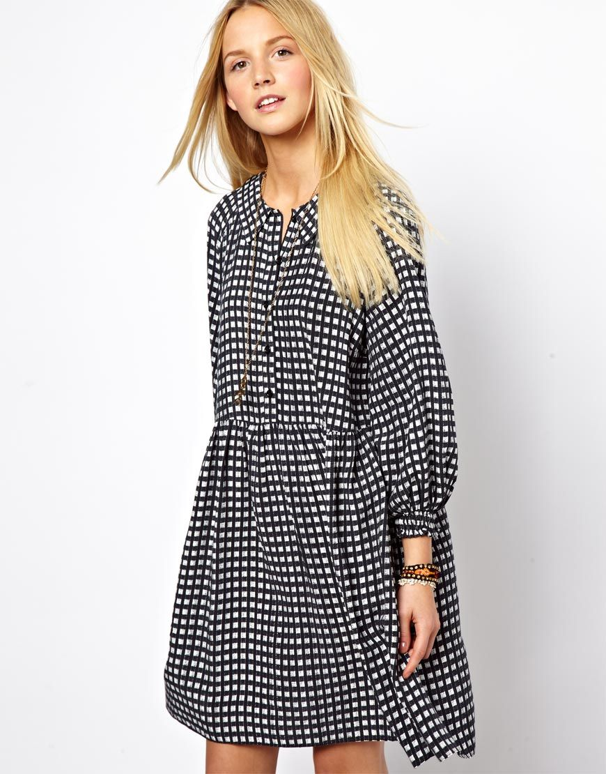 7d6c278835de1 ASOS Smock Dress In Gingham | CAPSULE WARDROBE + CLOSET — fashion ...