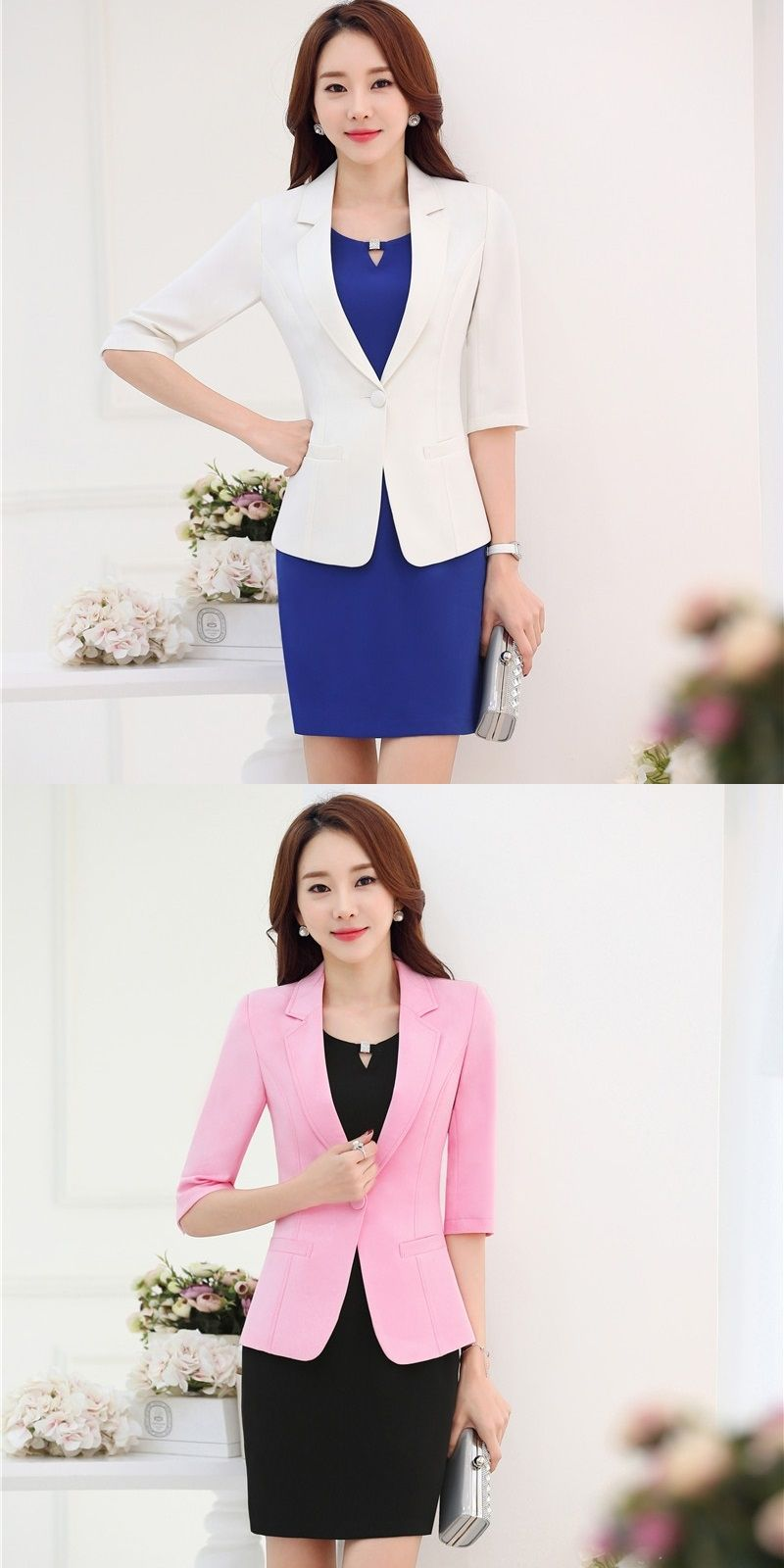 2f1f83d3d1ae3 Plus Size 3XL Formal Uniform Design Professional Business Suits With Jackets  And Dress for Ladies Office Blazers Outfits Pink