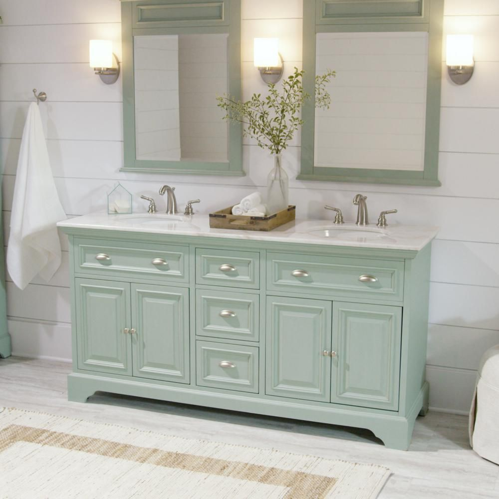 Home Decorators Collection Sadie 67 In W Double Bath Vanity In Antique Light Cyan With Natural