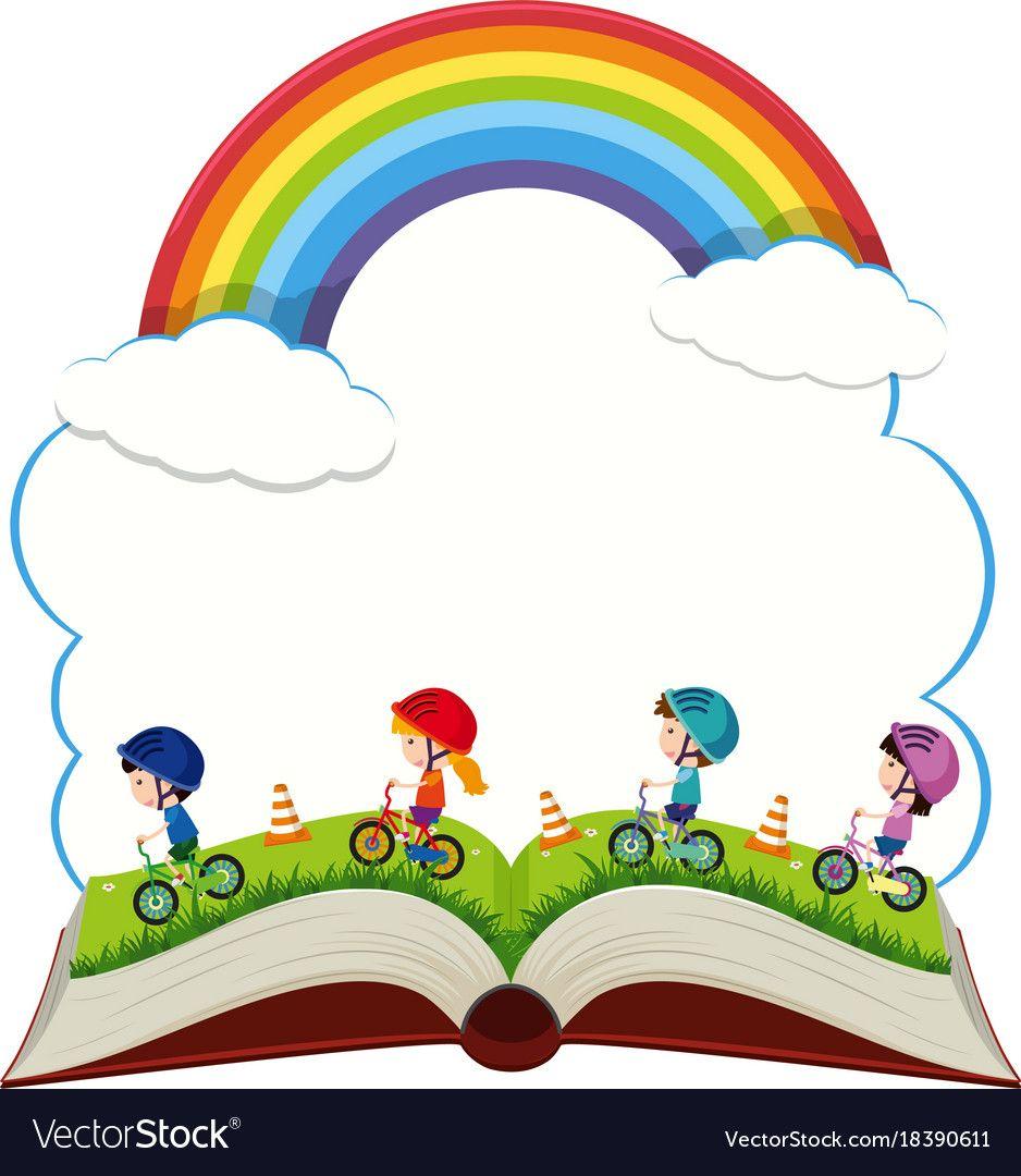 Book With Children Riding Bike In The Park Vector Image School Scrapbook School Murals School Crafts