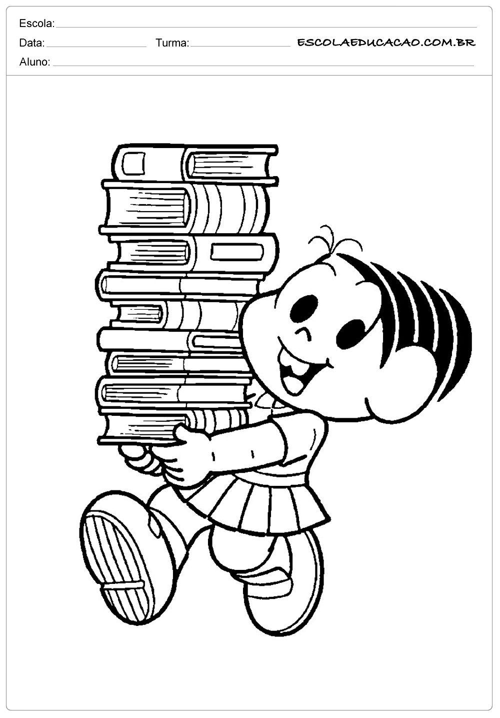Monica E Os Livros Dia Do Livro Desenhos Para Colorir