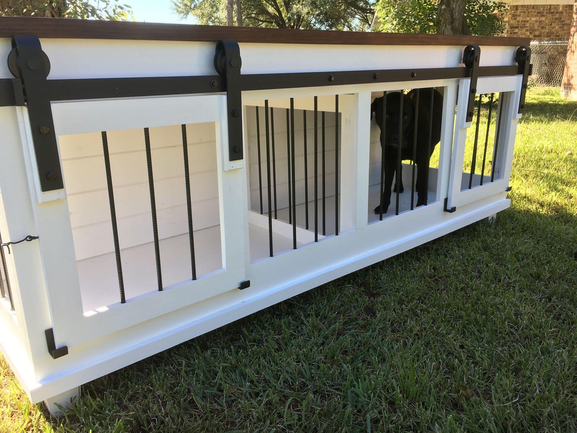 Barn Door Double Dog Kennel by Texas Custom Kennels Dog