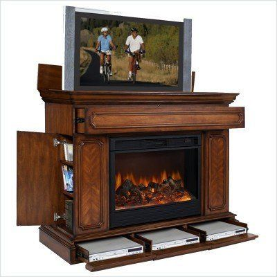 With Fireplace, OMG! TV Lift Cabinet Remington TV Stand by TV Lift ...