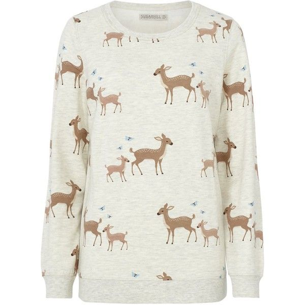 BAMBI PRINT SWEATSHIRT Sugarhill Boutique (3.365 RUB) ❤ liked on Polyvore featuring tops, hoodies, sweatshirts, sugarhill boutique, print sweatshirt, patterned tops, print top and patterned sweatshirt