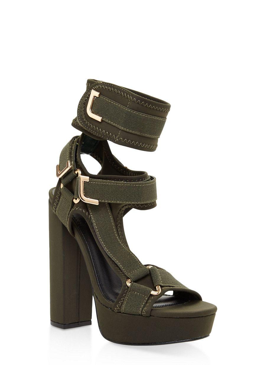 fe72abfade1 Neoprene Velcro Strap High Heel Sandals - Green - Size 9