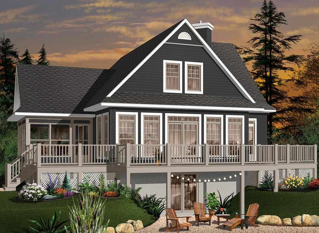 Hpm Home Plans Home Plan 728 3914 In 2020 Cottage House Plans Lake House Plans Waterfront Homes