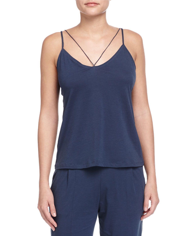 String Jersey Knit Camisole, Azure (Blue), Women's, Size: MEDIUM/2 - Skin