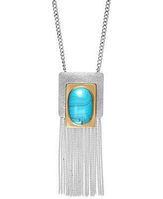 Ali Khan Large Turquoise Tassel Pendant #Necklace @Macys