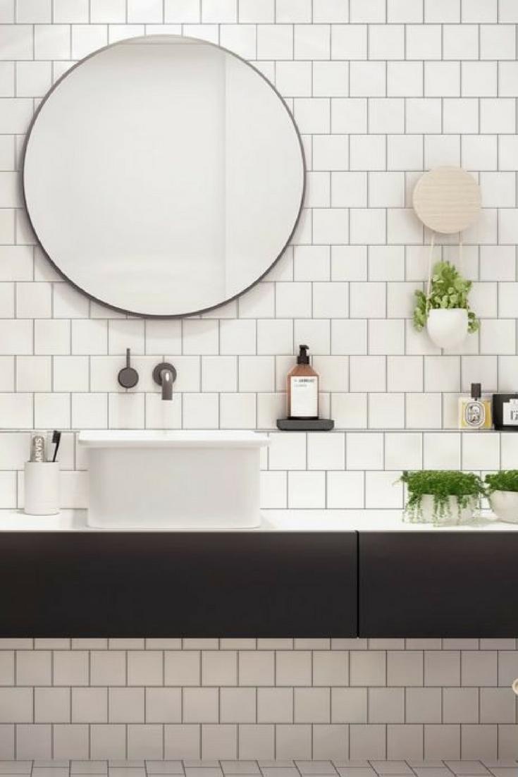 8 Clever Tricks On How To Make A Small Bathroom Look Bigger Round Mirror Bathroom Slate Bathroom Trendy Bathroom Designs
