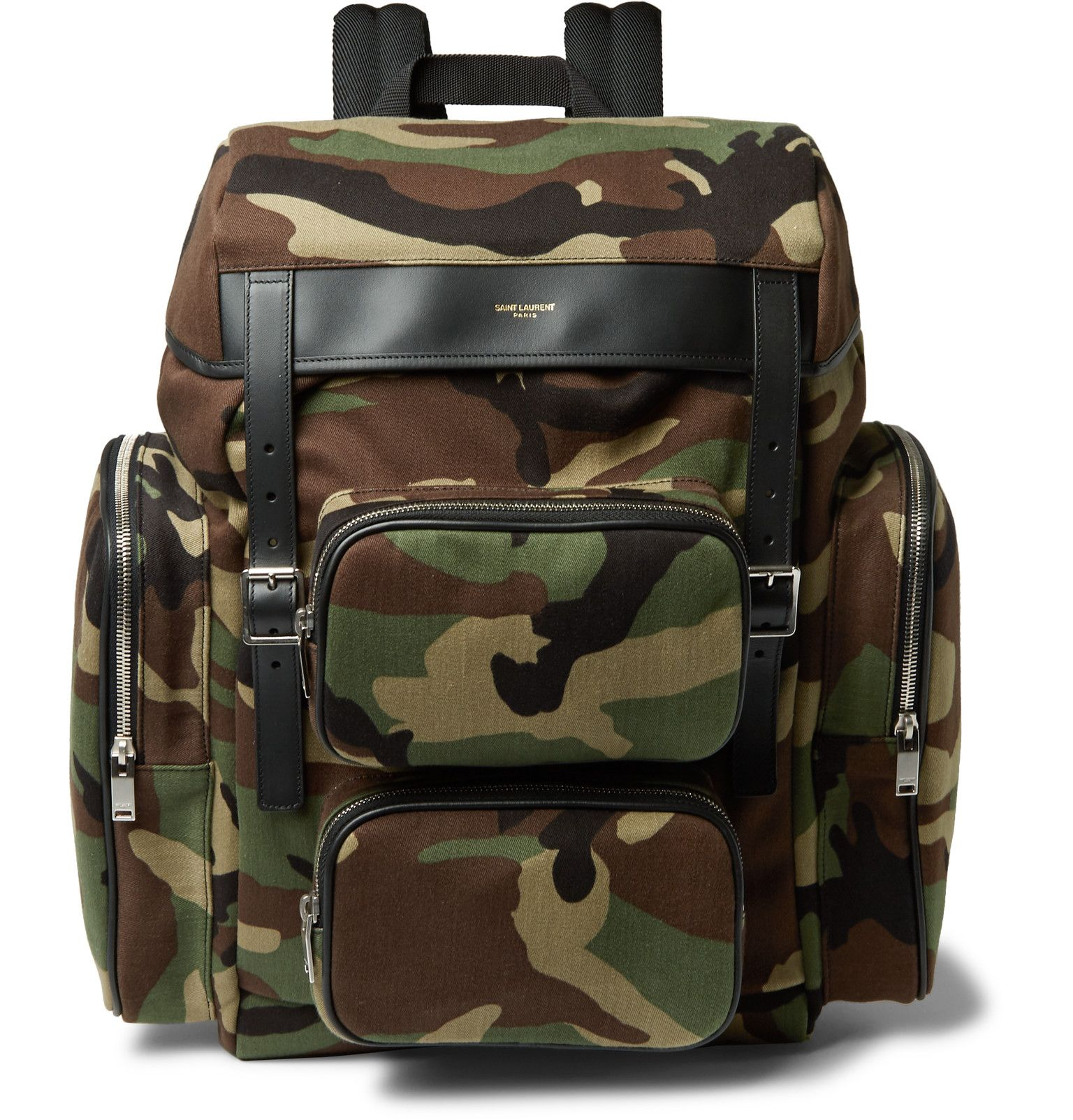 8a3b85cd2d Kitted with a multitude of pockets, Saint Laurent's camouflage-print  backpack has utilitarian appeal. Made from tough canvas, it's detailed with  ...
