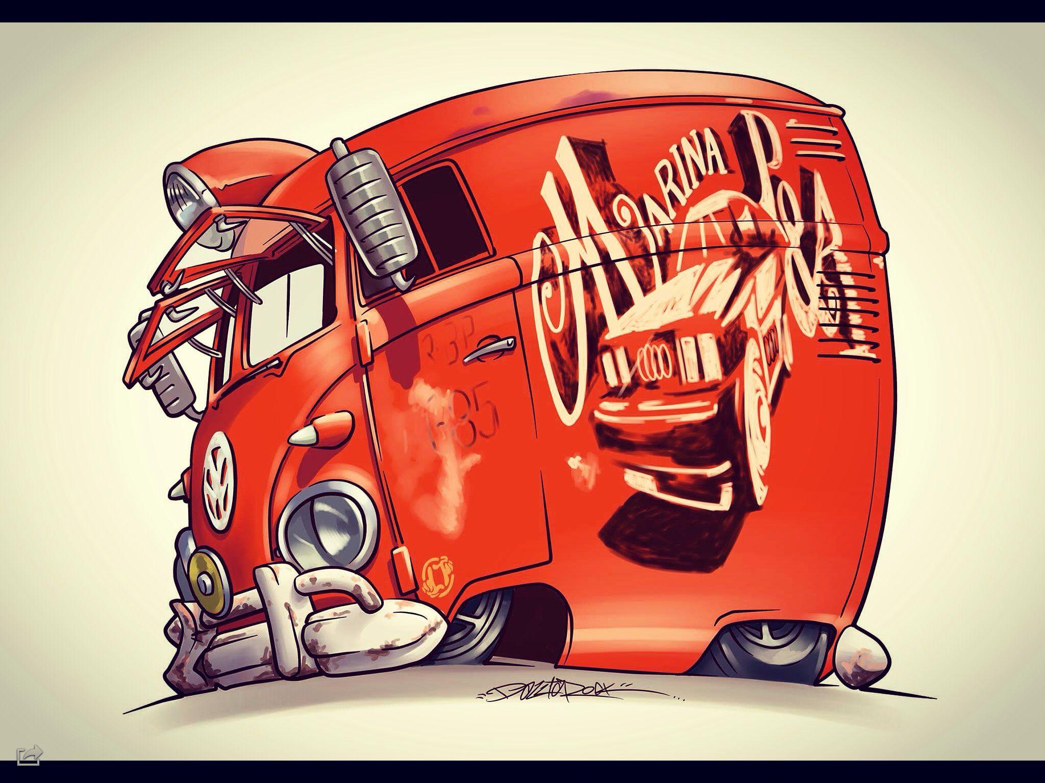 Splitscreen Panel Van Truck Art Vw Art Cartoon Car Drawing