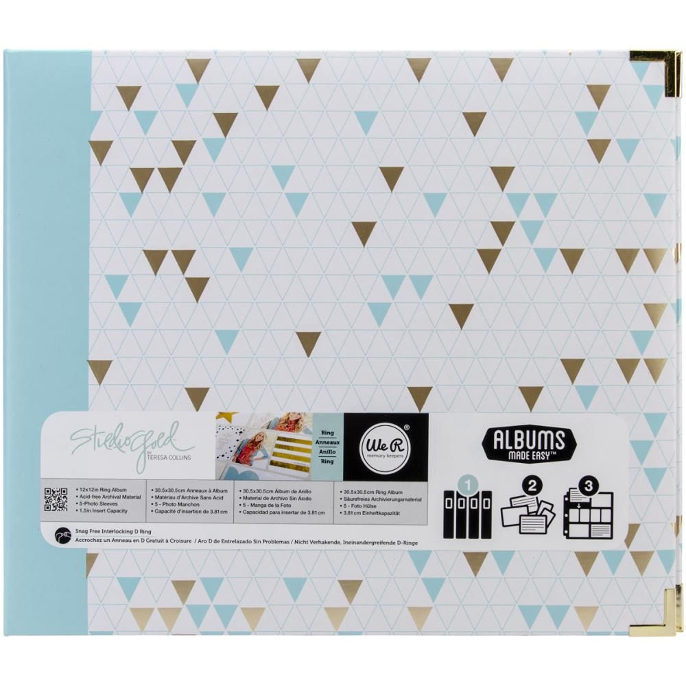Studio Gold Triangles 12x12 3 Ring Album We R Memory Keepers Albums