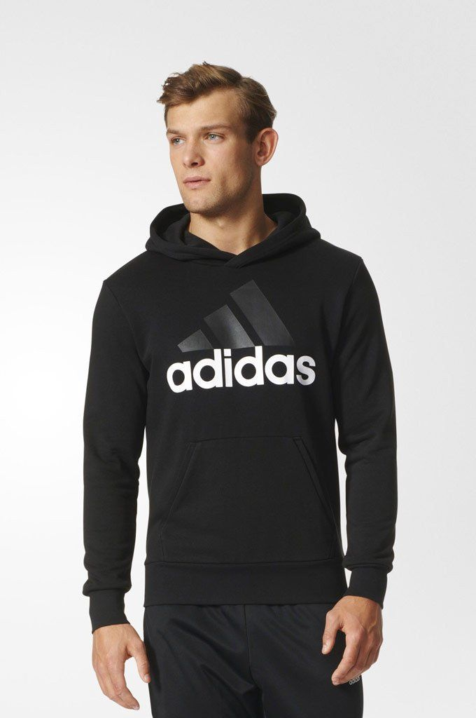 A cozy top layer for chilly days, this men's sweatshirt features ribbed cuffs and hem for a snug fit, and is made of a soft, comfortable cotton blend in French terry. The hood gives you roomy coverage with a crossover neck. Finished with a prominent adidas graphic on the chest.
