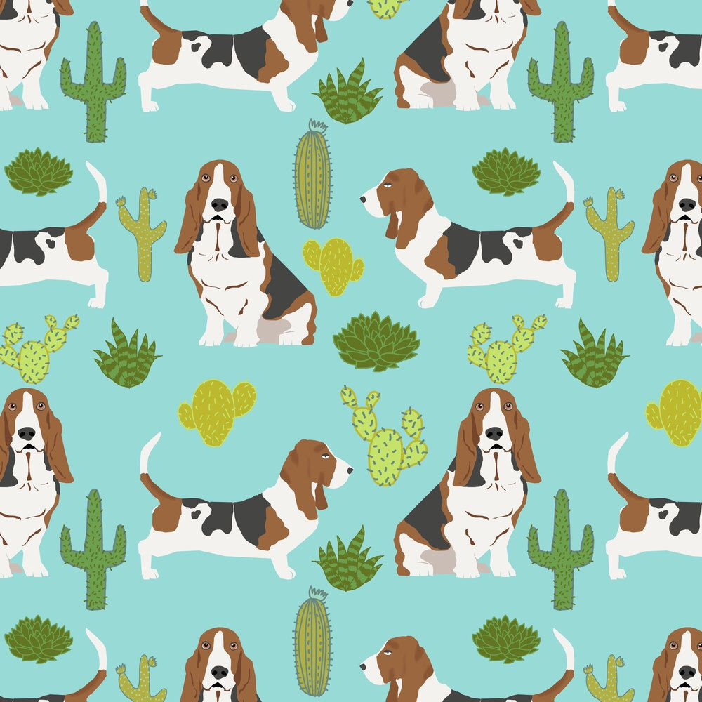Basset Hound Fabric - Basset Hound Mint Cactus Pet Dog fabric By ...