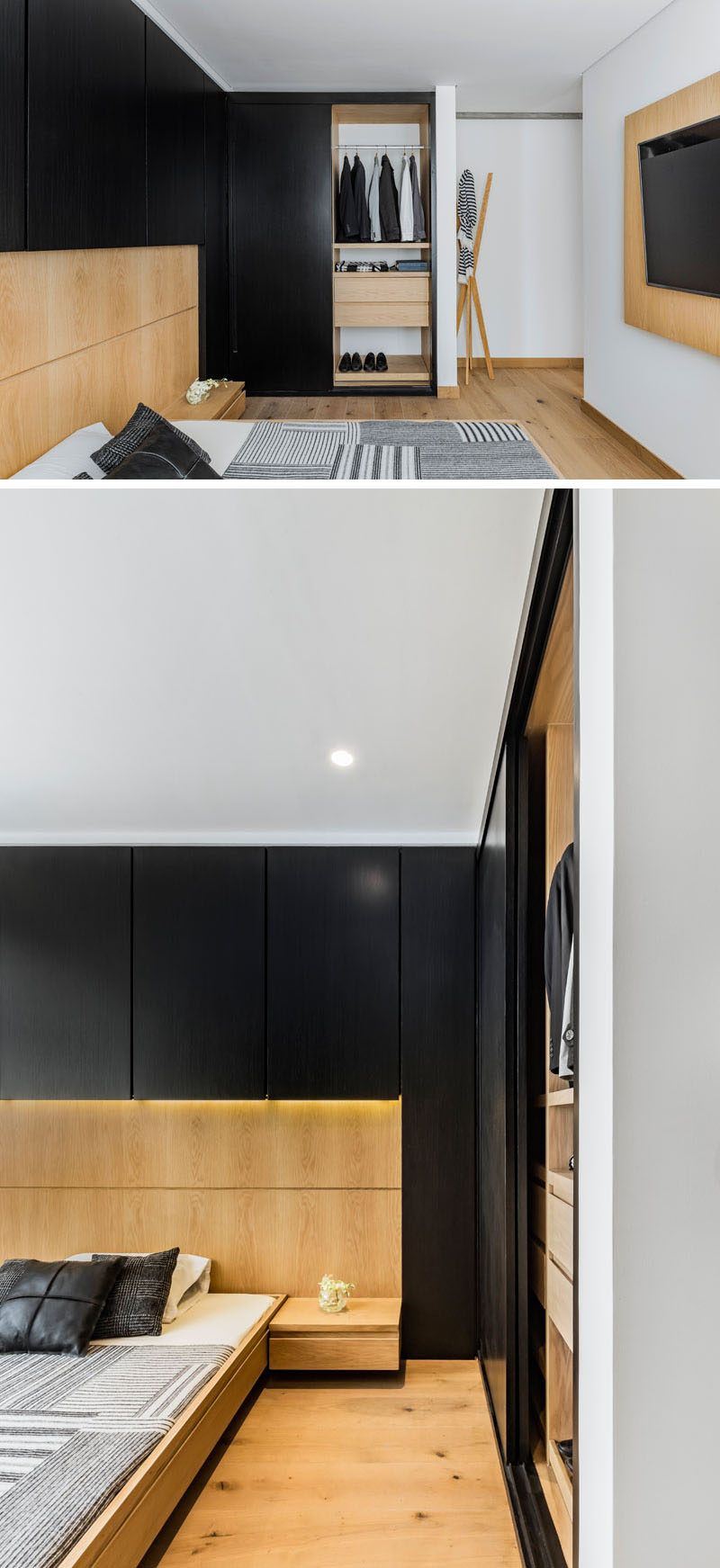 Black And Wood Design Elements Are Ever Present In This Apartment Interior Apartment Interior Interior Barn Doors Black Accent Walls