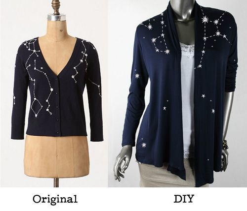 Get inspired by that trendy Constellation cardigan from Anthropologie and then see how easy it is to DIY an even better one! http://www.urbanthreads.com/blog/?p=9534